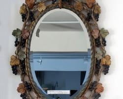 155 Specchiera legno intagliato policromo