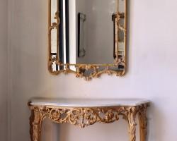 176 consolle e specchiera legno intarsiato