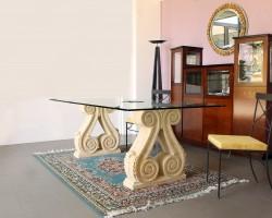 202 Tavolo cristallo, base in pietra giallo di Verona - Credenza legno